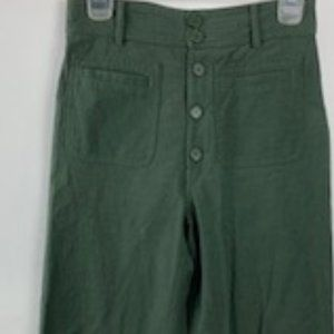 Apiece Apart Green High Waisted Wide Leg Pants 2